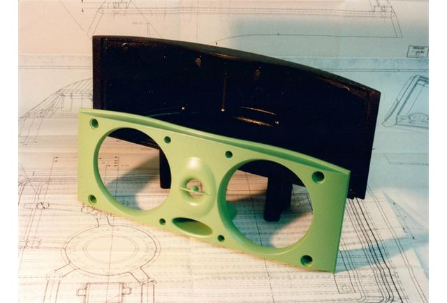 Midas' first plastic moulding! It was a 2 part speaker housing made for Celestion. A silicon mould tool was made from this handmade model.