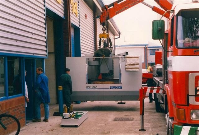Our first CNC machine is delivered, a HAAS (Mikron Badge) 1m x 0.6m x 0.5m vertical machining centre.
