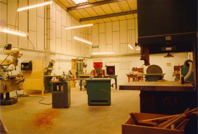 Inside the Patternshop, showing the first machines and plenty of space!