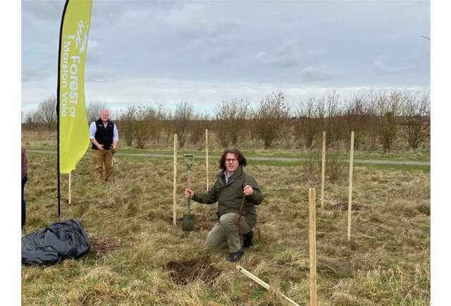Midas MD, Alan Rance, helps to plant 10 oak trees at Shocott Spring, the first 10 of 2500, all funded by Midas in The Forest of Marston Vale